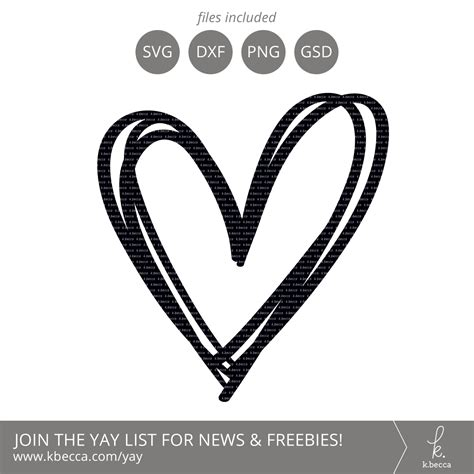 Subscribe to our email list & get the free download. Sketched Heart Die Cut (SVG File Included)