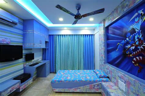 kids blue bedroom  wallpaper design  interior