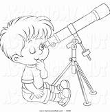 Telescope Coloring Clipart Pages Drawing Astronomy Boy Looking Through Lineart Getcolorings Printable Getdrawings sketch template