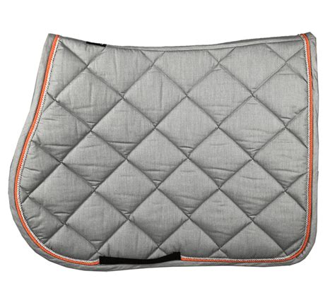 tapis de selle gris  orange tapis cso pour cheval