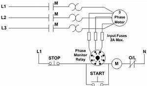 how to connect a three phase monitor relay macromatic With phase motor wiring diagrams as well 3 phase motor wiring