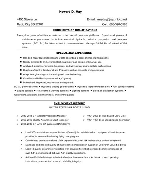 Start Resume Pdu by Howard D May Resume