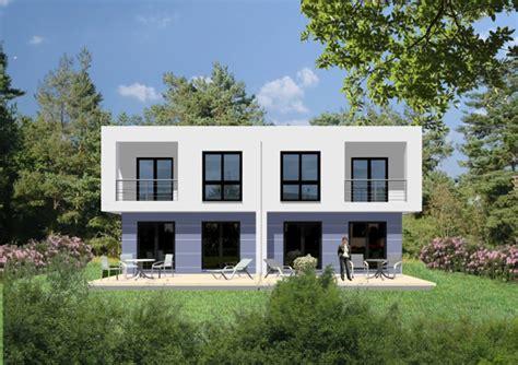 Fertighaus  Kubisches Doppelhaus In Bauhausoptik Auch