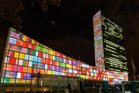 onu si鑒e obiettivi di sviluppo sostenibile le proiezioni sulla sede onu a york foto