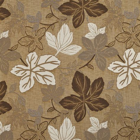 Beige And Ivory Large Leaves Textured Metallic Upholstery