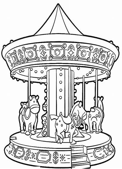 Coloring Carnival Pages Carousel Roundabout Magic Night