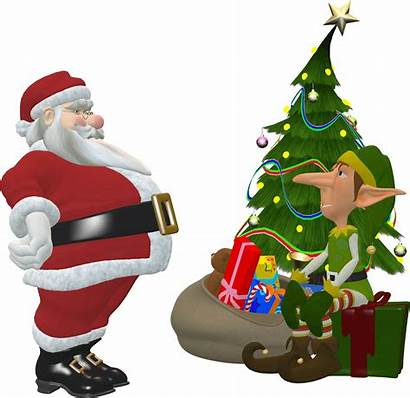Santa Claus Elf Elves Christmas Clipart Tree