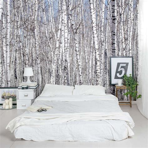 pouf de chambre white birch trees wall mural