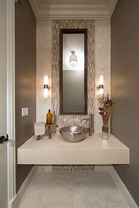 chicago travertine walls powder room contemporary with