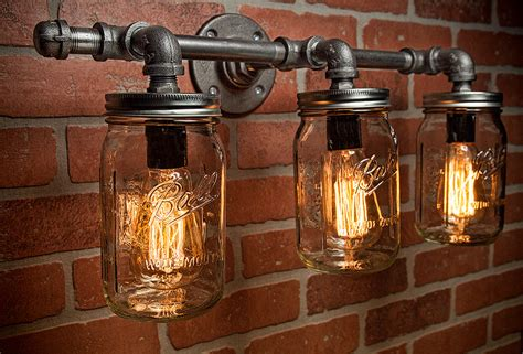 Rustic Bathroom Light Fixtures by Jar Light Fixture Industrial Light Light Rustic