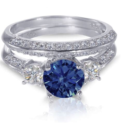white gold sterling silver brilliant blue sapphire wedding