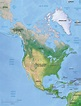 Vector Map North America continent relief | One Stop Map