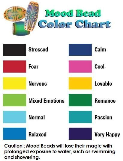 mood bead color chart characteristics  color mood