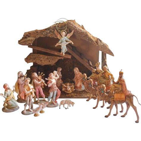 fontanini nativity vintage set stable 1980s wise men on