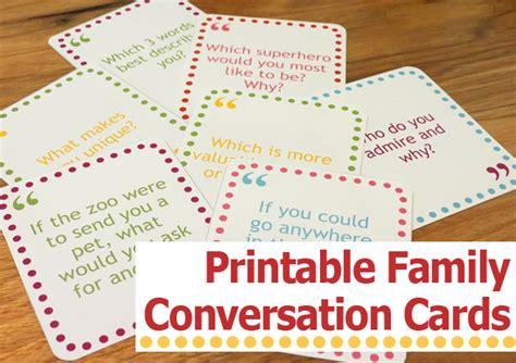 family conversation card printables  moms