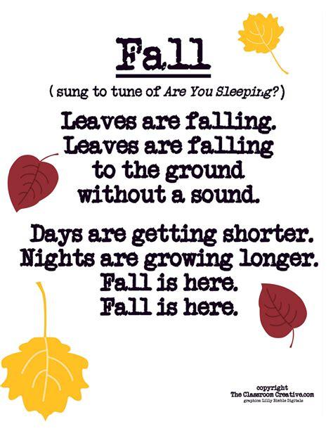 preschool short poems fall poem song for preschool kindergarten amp grade 114