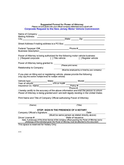 jersey power  attorney form  templates
