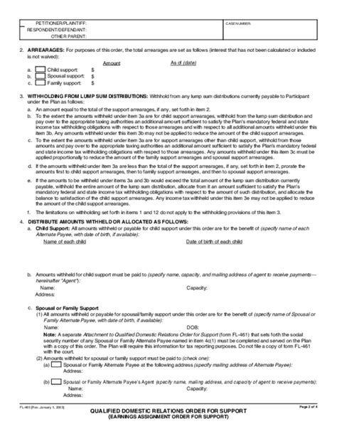 fl 460 qualified domestic relations order for support free