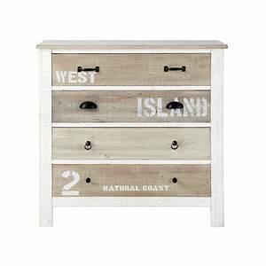 Commode Maison Du Monde : commode en bois blanche l 90 cm noirmoutier maisons du monde ~ Teatrodelosmanantiales.com Idées de Décoration
