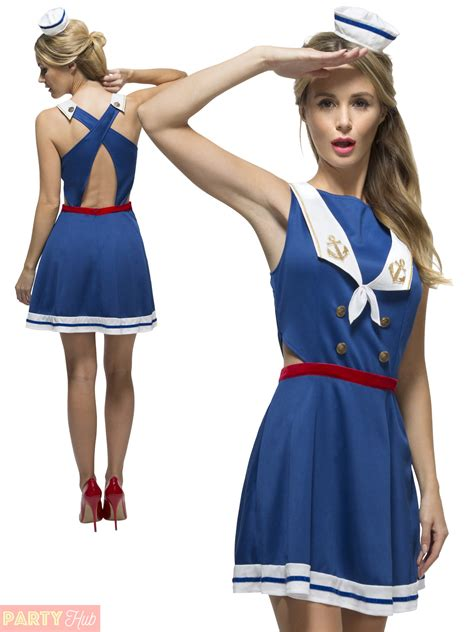 Ladies Fever Hey Sailor Costume Adults Nautical Fancy