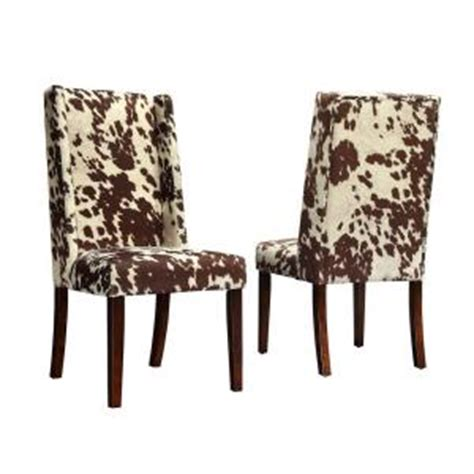 Cowhide Upholstered Chairs by Homesullivan Geoffrey Cowhide Print Upholstered Wingback
