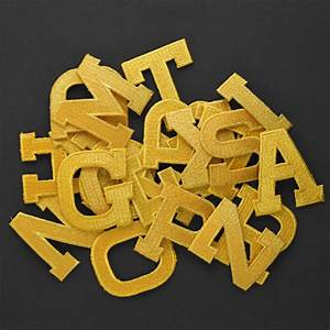 Gold alphabet letter iron on patch applique 1quot joyce for Iron on letters and symbols