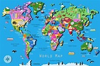 Its's a jungle in here!: Kids World Map | World map with ...