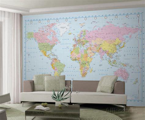 papier peint carte du monde peintures murales monde et