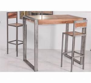 Table Cuisine Haute : tabouret de bar industriel en m tal et bois 39 industry 6748 ~ Teatrodelosmanantiales.com Idées de Décoration