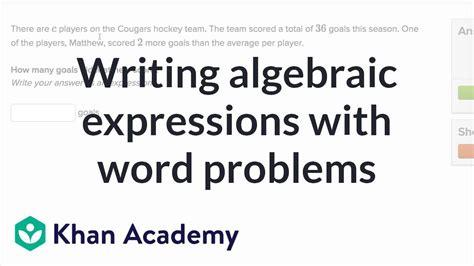 write algebraic expressions  word problems