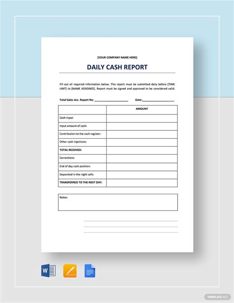 daily cash report report template templates cash