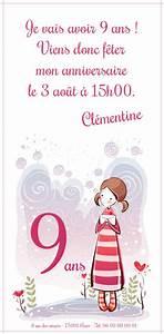 Invitation Anniversaire Fille 9 Ans : carte d invitation 9 ans carte anniversaire imprimer ~ Melissatoandfro.com Idées de Décoration