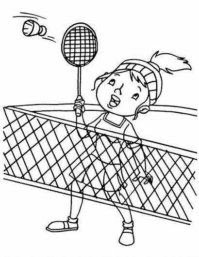 Badminton Coloring Quadra Kleurplaat Zawody Volleybal Kolorowanka