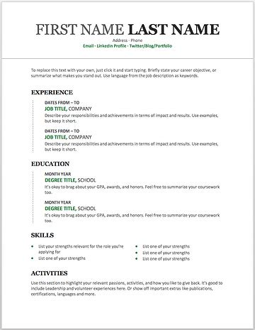 resume templates   customise  microsoft phrase