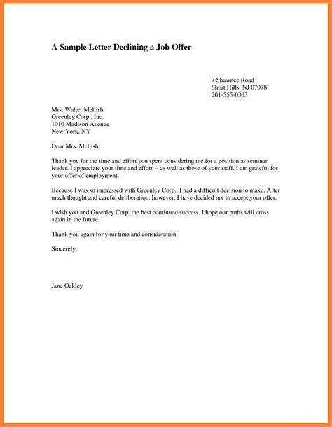 decline  offer letter