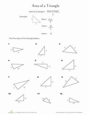 finding the area of a triangle worksheet education