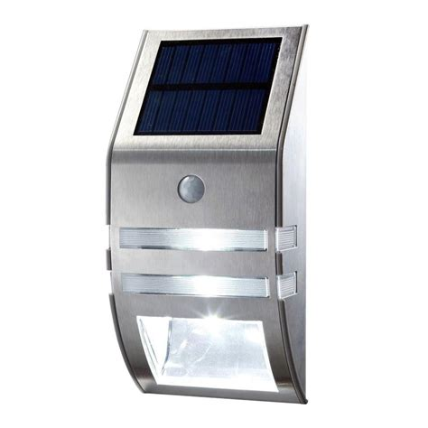 1x silver led solar wall light pir motion sensor garden