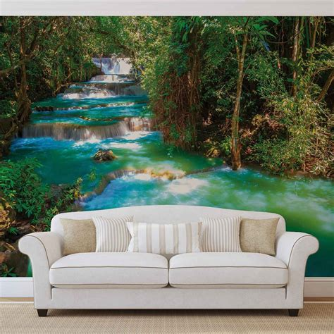 waterfalls trees forest nature wall paper mural buy at europosters