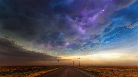 clouds road power lines lightning landscape utility