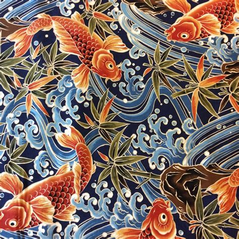 Stoffe Orientalische Muster by Tp016 Asian Japanese Bird Crane Koi Fish