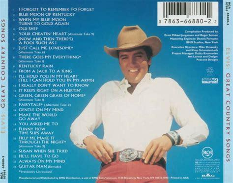 great country songs car 225 tula trasera de great country songs de elvis presley caratulas com