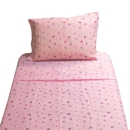 dotted flowers twin sheet set pink floral bedding
