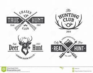 Vintage Hunting Emblems stock vector Illustration of