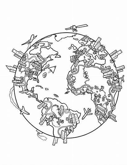 Coloring Drawing Map Earth Globe Population While