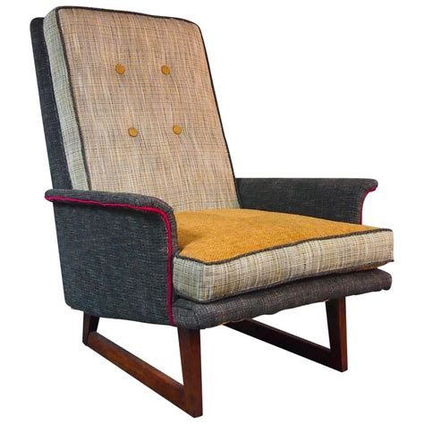 Gray Tweed Mid Century Armchair And Ottoman For Sale At