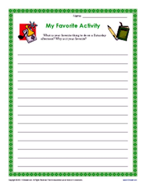my favorite activity descriptive writing prompt for 3rd