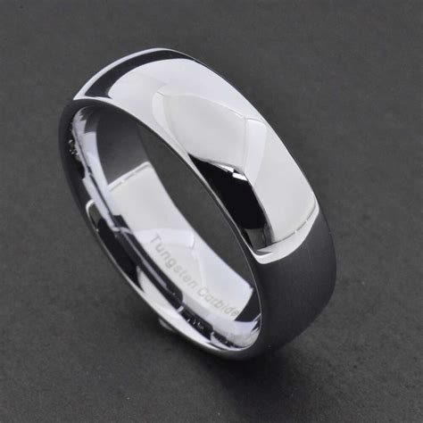 8mm tungsten silver white polish classic dome band men s wedding ring ebay