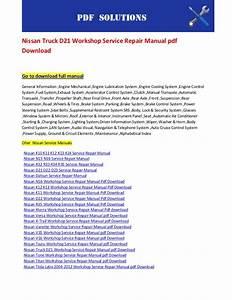 Nissan Truck D21 Workshop Service Repair Manual Pdf Download