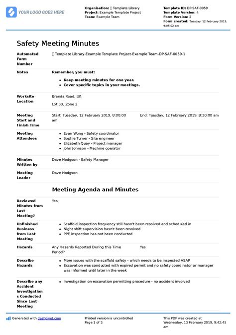 safety committee meeting agenda  minutes template