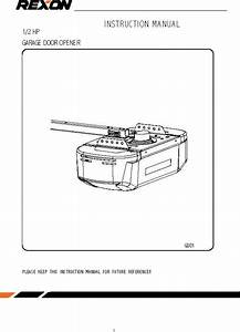 Rexon Gdk01 Garage Door Opener User Manual